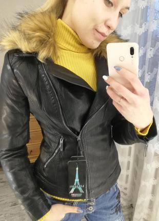 Косуха, кожаная куртка зимняя, кожаная куртка на меху