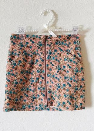 Вельветовая юбка в цветы h&m