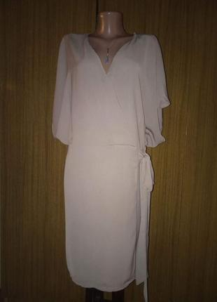 Шифоновое платье - туника нюдового цвета на запах. ботал