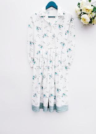Винтажное нежное платье миди под поясок красивое платье на пуг...