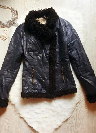 Синяя темная короткая куртка кожанка косуха теплая на овчине с...