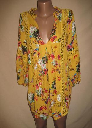 Свободная вискозная блуза с кружевом р-рxl,