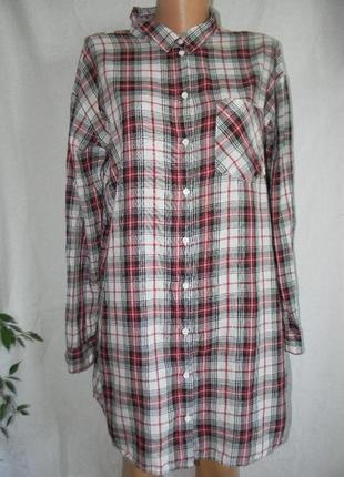 Удлиненная рубашка в клетку h&m