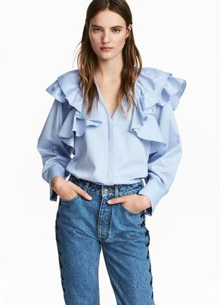 Блузка рубашка с оборками рюшами