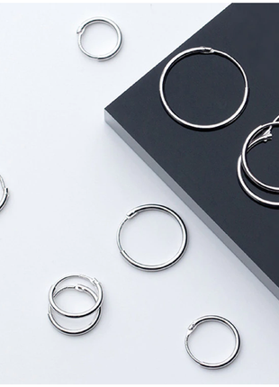 Серебряные сережки-кольца конго диаметр 20 мм/14 мм