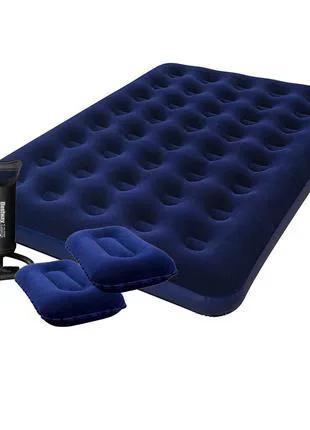 Двуспальный надувной матрас Bestway 67374 с насосом и подушками