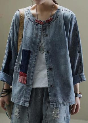 Оригинальная джинсовая рубашка оверсайз