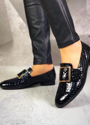 36-40. эксклюзив! эффектные лаковые кожаные туфли балетки с кр...