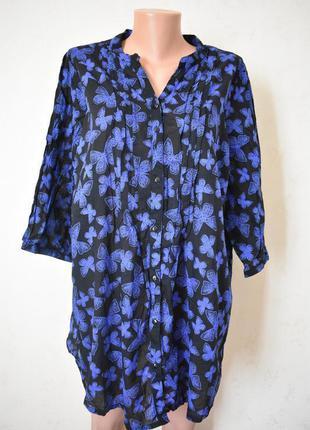 Натуральная блуза с принтом бабочки большого размера