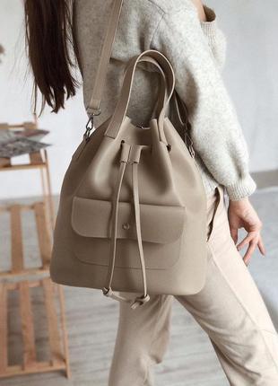 Сумка рюкзак мешок трансформер бежевый удобный городской