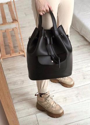 Сумка рюкзак мешок трансформер черный удобный городской