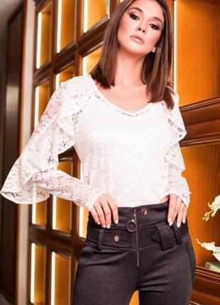 Блуза женская гипюровая белого цвета, блуза нарядная молодежная