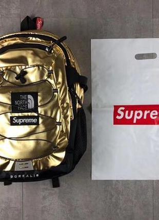 Рюкзак the north face & supreme SS18 Metallic Gold