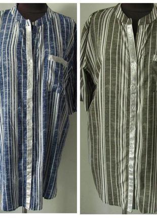 Рубашка-туника в полоску из штапеля в полоску, ботал, два цвет...