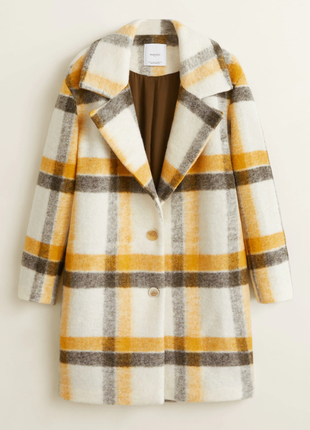 Женское шерстяное пальто в клетку mango. оригинал.