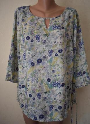 Легкая натуральная блуза с принтом большого размера f&f