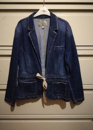 Стильный джинсовый коттоновый пиджак жакет куртка
