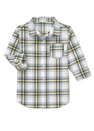 Рубашка в серую клетку с длинным рукавом на мальчика plaid shi...