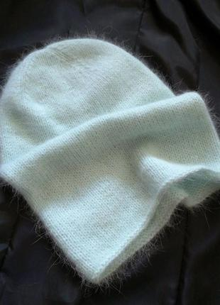 Голубая вязаная шапка бини ручная работа шапка ангора кролик