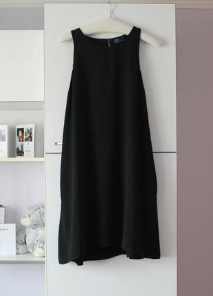 Черное базовое платье а-силуэта от gap
