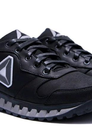 Мужские кожаные кроссовки Reebok. Код: 14_R-03 ч-сер.