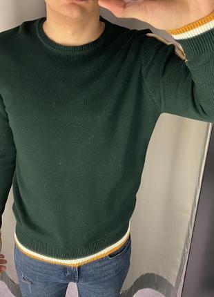 Зелёный свитер с лампасами пуловер smog есть размеры