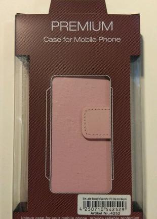 Кожаный чехол-книжка для Sony Xperia M4 Aqua розовый