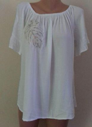 Вискозная блуза с вышивкой большого размера