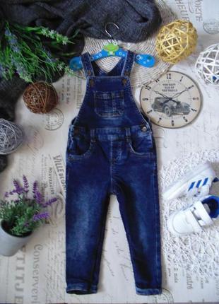 1-1,5года.джинсовый полукомбез на подкладке f&f