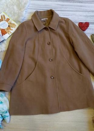 Стильное шерстяное бежевое пальто свободного кроя  размер 52-56