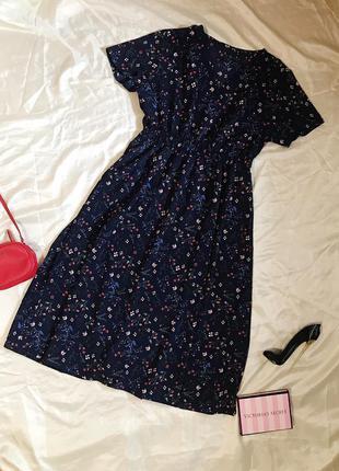 Шикарное красивое нарядное платье миди  в цветочный принт