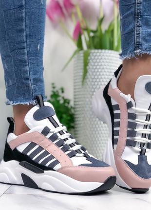 Женские кроссовки кожаные на высокой подошве