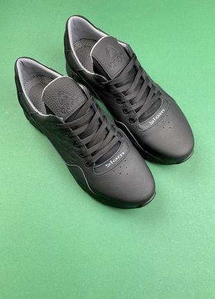Мужские кроссовки кожаные чёрные