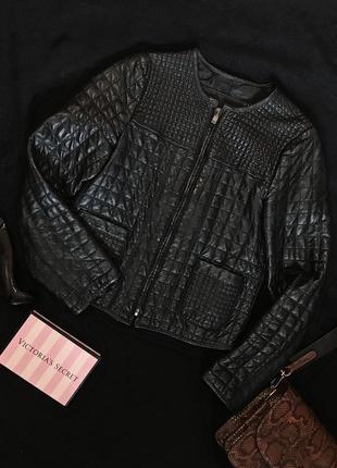 Крутая базовая чёрная кожаная куртка кожанка косуха zara 100% ...