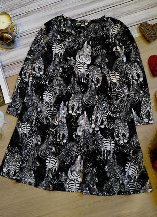 Вискозное платье свободного кроя в анималистичный принт размер...
