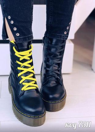 Чёрные ботинки мартенсы из натуральной кожи
