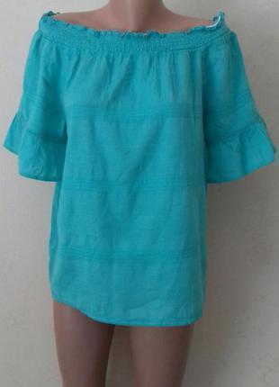 Натуральная блузочка с открытыми плечами f&f