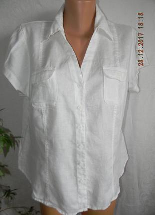Белая блуза-рубашка лен большого размера