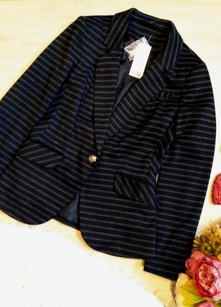 Новый с биркой!  крутой пиджак в полоску размер 10 (m-l)