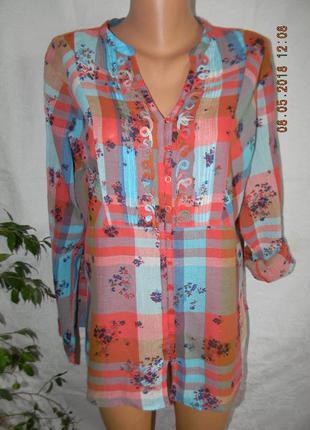 Легкая натуральная блуза-рубашка marks & spencer