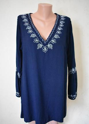 Натуральная блуза с вышивкой большого размера
