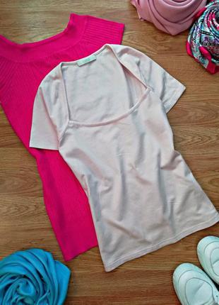 Женская легкая натуральная нюдовая футболка marks & spencer - ...
