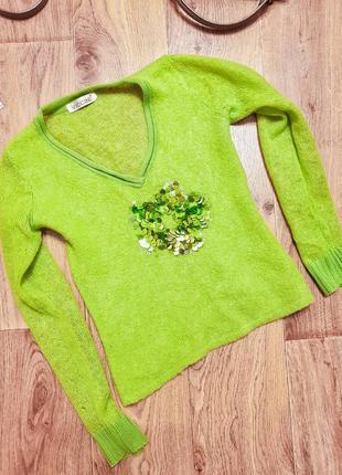 Мохеровый свитер шерстяной салатовый зеленый из мохера джемпер...