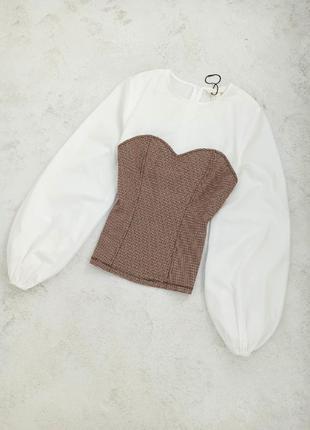 Шикарная комбинированная блуза с имитацией корсета