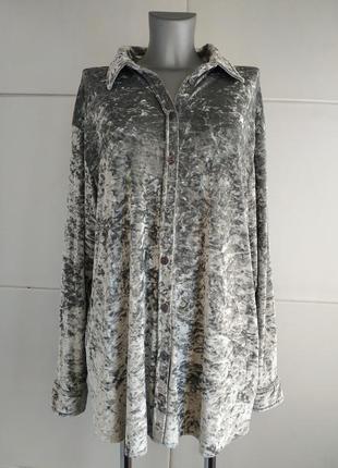 Изумительная рубашка marks&spencer из бархата серебристого цвета