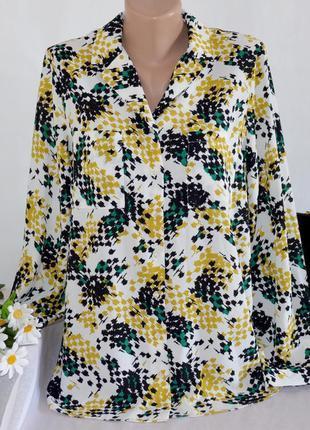 Брендовая блуза рубашка с карманами tu вьетнам принт абстракци...