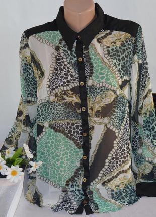 Брендовая шифоновая блуза be beau арабские эмираты принт абстр...