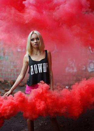 Кольоровий дим Червоний(найнасиченіший дим13) Цветной дым, 60 сек