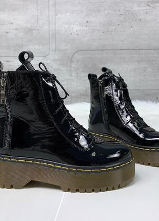 Лаковые ботинки мартенсы,чёрные лакированные ботинки в стиле d...