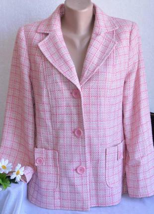 Брендовый розовый пиджак жакет с карманами в клетку wardrobe ш...